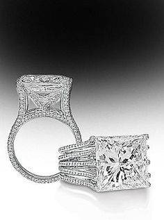 Four row pave split shank mounting with Princess cut center stone By Bez Ambar.
