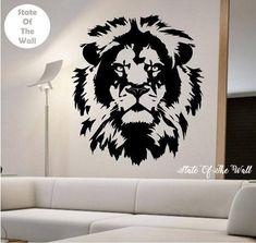 Lion Wall Decal Lion Face Vinyl Design Sticker Art Decor Bedroom Design Mural Home-Dekor Tiere Vinyl Art, Vinyl Wall Decals, Vinyl Designs, Paint Designs, Wal Art, Animal Stencil, Lion Painting, Animal Wall Decals, Lion Art