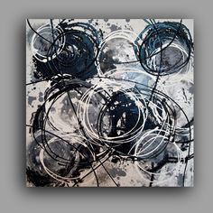 """ACRYLIC PAINTING ABSTRACT White Noise Black and White Art Original Painting Fine art on Gallery Canvas 24x24x1.5"""" by Ora Birenbaum."""