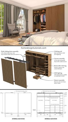 In this tutorial we'll walk through the key points of the process to understand how to design a wardrobe - including carcass design and building methods. Wardrobe Carcass, Ceiling Plan, Wardrobe Design, Blog Images, Dream Bedroom, Design Tutorials, Decoration, Man Cave, Architecture Design