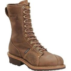 """Make sure that you have a tough yet comfortable boot to work in all day!  Carolina Linesman Brown Soft Toe Boot WP 10"""" height......"""