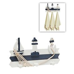 Decorative Nautical Blue White Design Wall Mounted Wood Hooks Hanging Rack / Storage Organizer - MyGift®, http://www.amazon.com/dp/B00UJWTSNY/ref=cm_sw_r_pi_awdm_376tvb14RVF5B