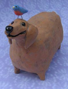 Fat dachshund ceramic sculpture fat wiener dog by KarenFincannon