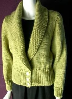 Easy Knitting Patterns - Shawl Collar Cardigan Sweater Knitting Pattern