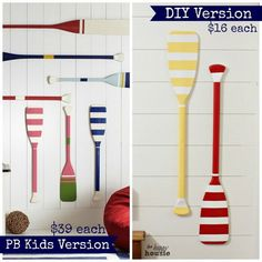DIY Painted Oars For Wall Hanging Decor in a Kid's Bedroom - Inspired by Pottery Barn. | DIY Kids Bedroom Ideas | 34 Pottery Barn Hacks For Design On A Budget by DIY Ready at http://diyready.com/diy-projects-pottery-barn-hacks