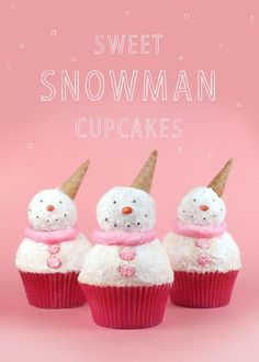 snow adorable snowman cupcakes