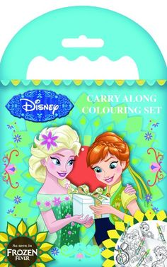 Disney Frozen Fever Carry Along Travel Colouring Set Crayons & Colour In Scenes Elsa & Anna