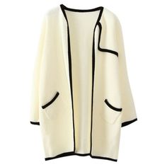 Cocoon Neck Long Sleeve Color Block Cardigan (54 BAM) found on Polyvore featuring tops, cardigans, beige top, cocoon cardigan, block tops, colorblock cardigan and long sleeve tops