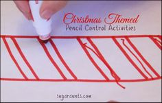 DIY worksheets for pre-hand writers and new hand writers...with a Christmas theme! Three worksheet ideas and pencil control tips for festive pencil practice. By Sugar Aunts