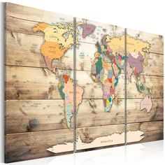 murando Canvas Wall Art cm / x Non-Woven Canvas Prints Image Framed Artwork Painting Picture Photo Home Decoration 3 Pieces World map Wood Cork World Map, Cork Map, World Map Wall Art, Wall Maps, Painting Prints, Wall Art Prints, Poster Prints, Canvas Prints, Classroom Art Projects
