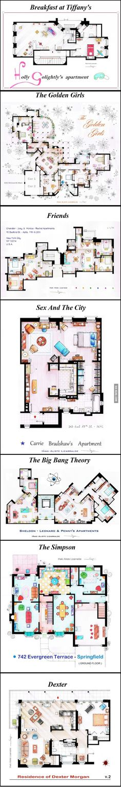 Floor plans of popular TV and film homes
