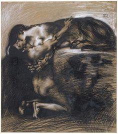 Le baiser du Sphinx (1895).  Franz von Stuck.      Charcoal on paper.  Private collection.  Piquant Paint