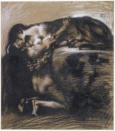 Le baiser du Sphinx (1895).  Franz von Stuck.      Charcoal on paper.  Private collection.  Piquant Paint