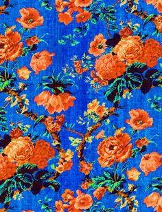 blue, orange, flowers