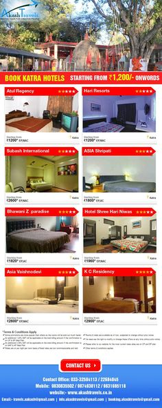 Book KATRA Hotels. Starting from Rs. 1200 Onwords, Visit our website.