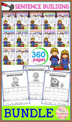 There are 360 pages of sentence building worksheets in this bundle. These pages are great for pre-K, kindergarten and first grade students. These pages will teach children to read, write and build sentences. Preschool   Preschool Worksheets   Kindergarten   Kindergarten Worksheets   First Grade   First Grade Worksheets   Sentence Building   Sentence Building Growing Bundle  Sentence Building Worksheets   Sentence Building Literacy Centers   Sentence Building Printables