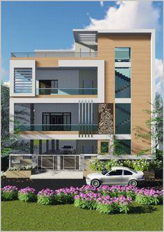 Unique House Design, House Front Design, West Facing House, House Elevation, Front Elevation, House Plans Mansion, Model House Plan, Bungalow House Design, Dream House Exterior