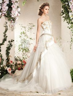 A-line Strapless Court Train Tulle Wedding Dress - US$ 775.03