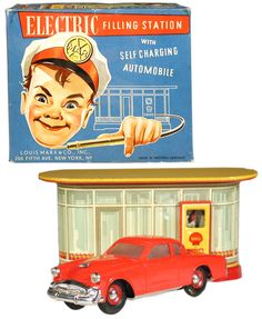 1952 Marx & Distler, Electric Shell Service Station w/Self Charging Studebaker (Factory Sample)