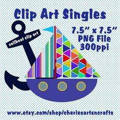 Clip Art Singles Sailboat Clip Art Single by CheriesArtsnCrafts, $1.00
