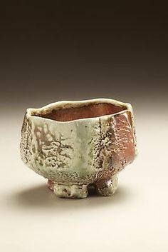 Split-footed Tanba teabowl with ash glaze and iron oxide underglaze  2010  Wood-fired stoneware with ash glaze  3 5/8 x 5 1/4 inches  Masterworks by Nishihata Tadashi