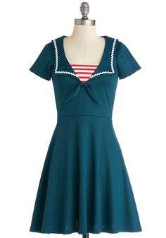 Savvy Sailor Dress. Your date-night look will be as impressive as your seafaring skills when you wear this navy blue dress! #blue #modcloth
