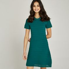827b624f9004 Green Pointelle Ribbed Knit Skater Dress. Apricot Clothing