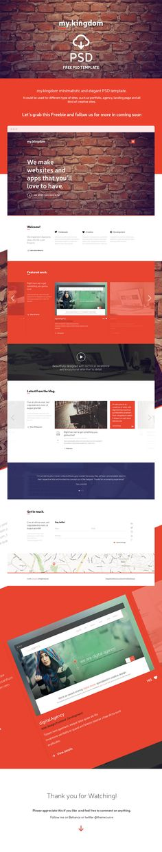 my.kingdom is a free PSD website template. This is bright and spacious design perfect for people or startup companies looking to showcase their projects.