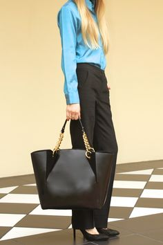 Tiana black leather and suede  tote by #tatyZ #F/W 2014-15