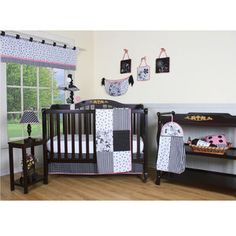 Geenny Boutique Flower and Dot 12 Piece Crib Bedding Set