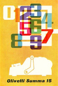 F.H.K. Henrion Illustration    Poster for Olivetti adding machine. From Graphis Annual 62/63. Overlapping color blending.