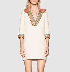 Gucci silk cotton embroidered dress