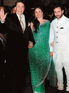 Randhir Kapoor with daughter #KareenaKapoor and son-in-law Saif Ali Khan.