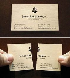 Another Creative Business Card From A Divorce Lawyer The Perforated Demonstrates What Lawyers Can Do