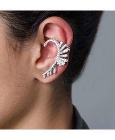 ear cuff brinco penas prata e zirconias