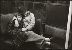 Cuddling sleeping couple on train in New York 1950's how cute x