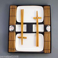 Weißes Sushi Set Geschirr Service Asia 10 teilig für 2 Personen NEU weiss braun