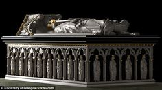 The video above shows the reconstruction of the king's tomb (pictured)...King Robert the Bruce of Scotland