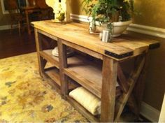 Barn wood console table for cream/sugar/trash with added cabinets for storage with corner brackets