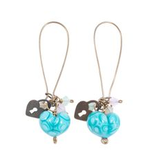 Items similar to Turquoise Glass Heart Drop Earrings on Etsy Glass Jewelry, Unique Jewelry, Turquoise Glass, Fused Glass, Glass Art, My Etsy Shop, Delicate, Drop Earrings, Beads