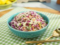 """Classic Coleslaw (Summer's Perfect Meal) - Geoffrey Zakarian, """"The Kitchen"""" on the Food Network. Coleslaw Recipe Food Network, Food Network Recipes, Coleslaw Recipes, Coleslaw Recipe Ina Garten, Salad Recipes, Side Dishes Easy, Side Dish Recipes, Veggie Recipes, Kitchen Recipes"""