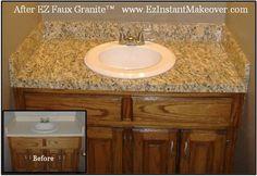 Use Ez Faux Granite to transform your bathroom counter and vanity www.EzInstantMake...