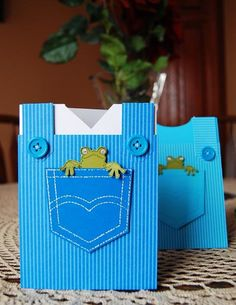 Baby Frog Pocket Fun card with buttons on striped designer paper (cute little white undershirt really sets it off).