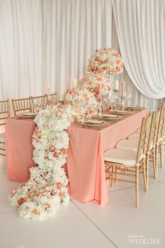 Peach linen and cascading floral runner. ROA Luxury Floral Event Design. | Photography by: Belluxe Photography.