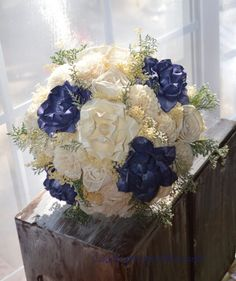 Rustic Navy Bouquet, Navy Wedding Bouquet by CountryWesternBlooms