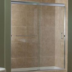 "Hazelwood Home Gosson 48"" x 72"" Single Sliding Frameless Shower Door Trim Finish: Brushed Nickel"
