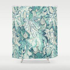 Tahari Large Damask Floral Scrolls Cotton Shower Curtain