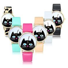 Sale 15% (3.79$) - Cute Cat Gold Color Case PU Leather Band Men Women Analog Quartz Watch
