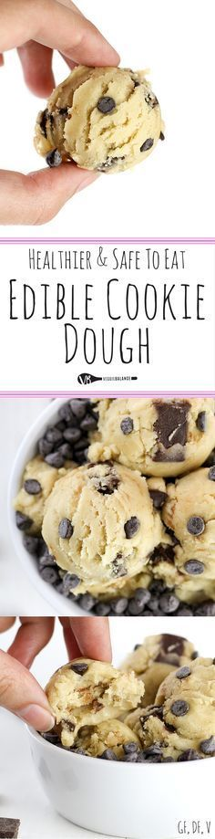 Edible Cookie Dough recipe and How-To Make it Healthy, Gluten-Free, Dairy-Free and Lower-sugar! Making safe-to eat and egg-less cookie dough with just 7 simple ingredients and tips to baking the flour! Dreams do come true. Healthy Desserts, Just Desserts, Delicious Desserts, How To Make Desserts, Healthy Edible Cookie Dough Recipe, Fun Deserts To Make, Heathy Dessert Recipes, Healthy Tasty Recipes, Simple Healthy Recipes