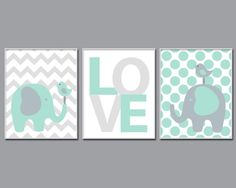 Elephant Nursery Art Suits Mint and Grey Nursery by HopAndPop
